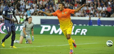 Rafinha celebra el gol del Bara en Pars.
