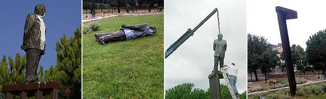 La retirada de la estatua de Pujol en Premià de Dalt. A la izquierda, hace unos días manchada con pintura. Por los suelos. Intento de reposición. El pedestal huérfano.