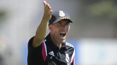 Zinedine Zidane, durante un entrenamiento del Madrid Castilla