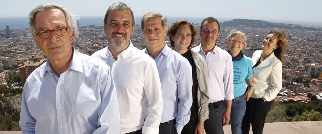 Trias (CiU), Collboni (PSC), Fern�ndez (PPC), Colau (Barcelona En Com�), Bosch (ERC), Lecha (CUP) y Mej�as (C's), en el mirador del Tur� de la Rovira.