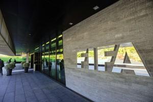 Entrada de la sede de la FIFA en Zúrich
