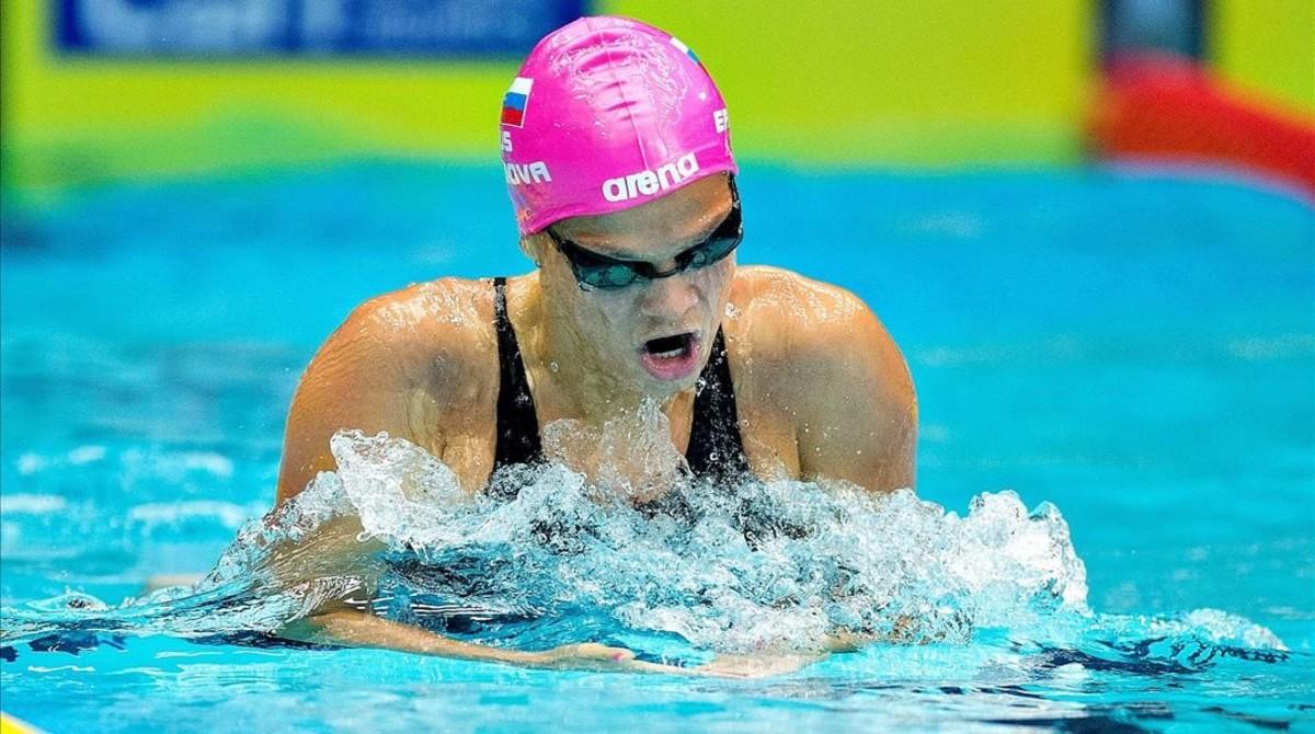 Yulia Efimova, durante una competición