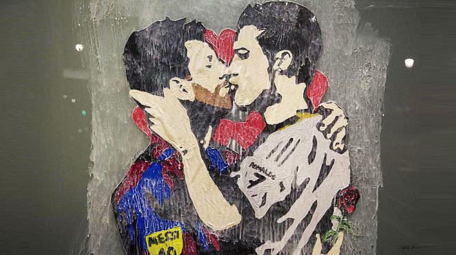 Grafitti de Tvboy con motivo del Barça-Madrid