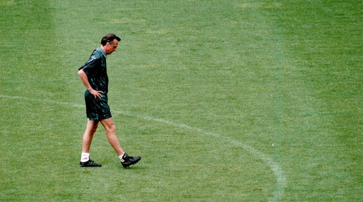 Johan Cruyff, durante un entrenamiento del Barça en mayo de 1996, uno de los últimos que dirigió en el Barça.