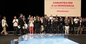Carles Puigdemont, en el acto de este martes en el Teatre Nacional de Catalunya para presentar la ley del referéndum.