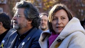 Acto electoral de ERC con la presencia de Carme Forcadell y Antoni Castellà en Mataró.