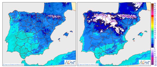 Temperaturas mínimas de este lunes (izquierda) y previsión para el miércoles, según la Agencia Estatal de Meteorología (Aemet). Las zonas blancas equivalen a heladas, temperaturas negativas.