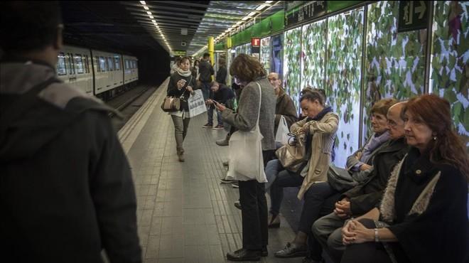 La estaci�n de metro de Liceu, el jueves por la noche.