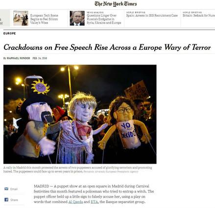 El caso de los titiriteros llega a 'The New York Times'