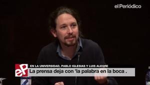 Iglesias se queda con la 'palabra en la boca' ante el plante de la Prensa.