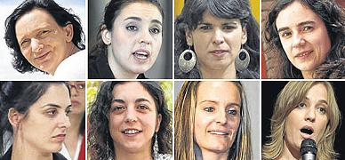 De izquierda a derecha y de arriba abajo: Carolina Bescansa, Irene Montero, Teres Rodríguez, Gemma Ubasart, Rita Maestre, Tania González, Ámgela Ballester y Tania Sánchez