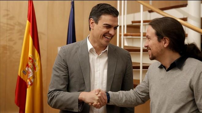 S�nchez e Iglesias, durante su reuni�n en el Congreso el pasado 5 de febrero.