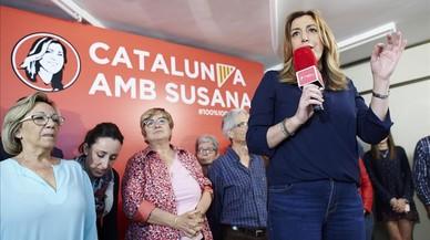 Susana Díaz corteja a las bases del PSC ante el avance de Sánchez