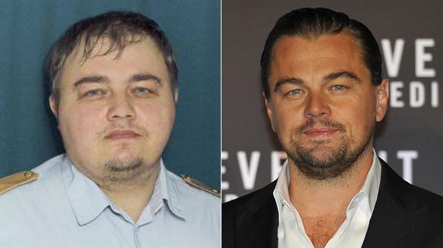 Leonardo DiCaprio y su doble ruso, a la derecha.