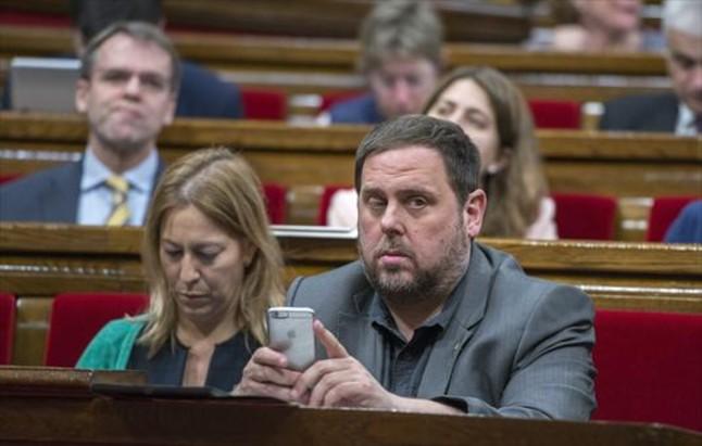 El vicepresidente económico de la Generalitat, Oriol Junqueras, en el Parlament.