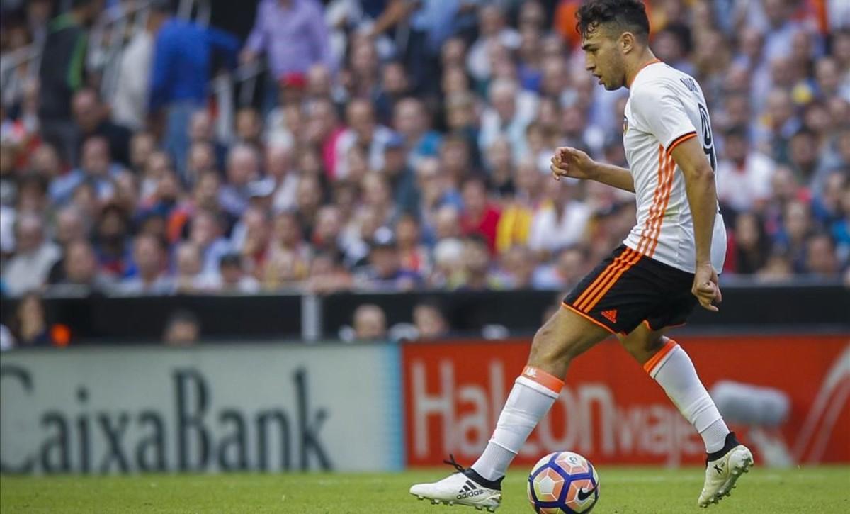 Munir (Valencia) en el partido de la jornada 9 contra el Barcelona