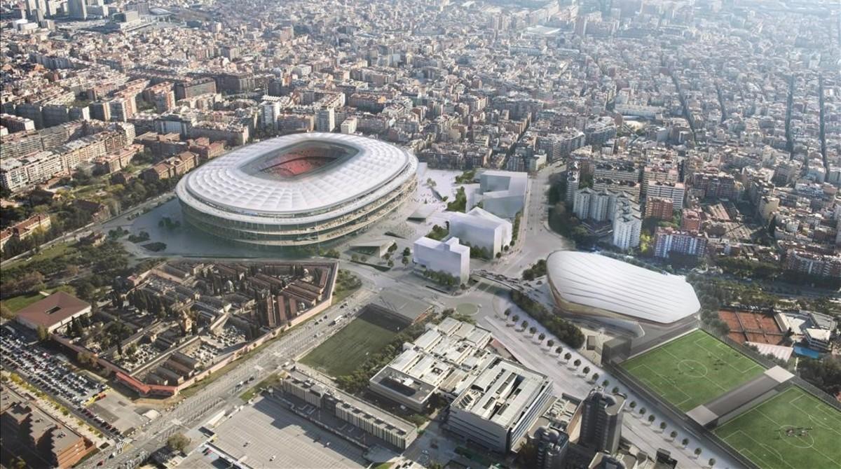 Simulación informática de una vista aérea del futuro Espai Barça.