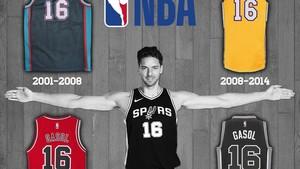 Pau Gasol, con las cuatro camisetas que ha lucido en la NBA, siempre con el número 16.
