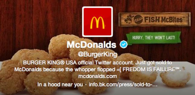"Unos piratas ""venden"" a McDonald's la cuenta de Twitter de Burger King"