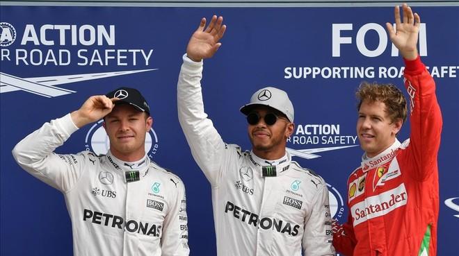 Nico Rosberg, Lewis Hamilton y Sebastian Vettel, hoy en Monza.