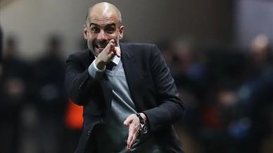 Pep Guardiola, durante la derrota del Manchester City ante el Mónaco.
