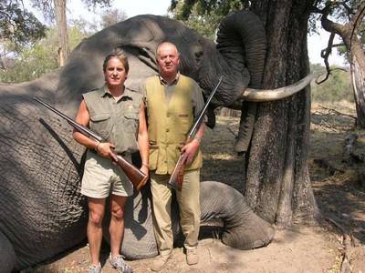 El Rey posando frente a un elefante, durante uno de los safaris que ha realizado en Bostwana.