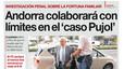 """""""Andorra colaborar� con l�mites en el 'caso Pujol'"""", en la portada de EL PERI�DICO DE CATALUNYA"""