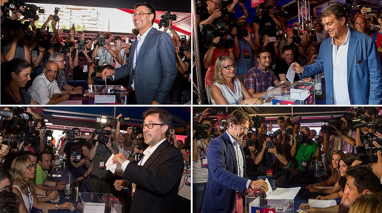 Els quatres candidats a la presidència del Barça passen per les urnes