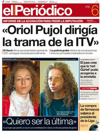 """""""Oriol Pujol dirig�a la trama de la ITV"""", en la portada de EL PERI�DICO"""