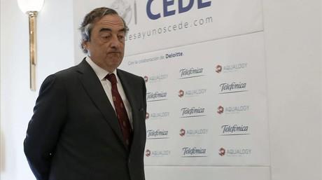 El presidente de la CEOE, Juan Rosell, en un desayuno con empresarios.