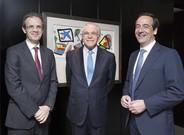 Jordi Gual, Isidre Fain� y Gonzalo Gort�zar, el presidente no ejecutivo del grupo, el presidente de la fundaci�n y el consejero delegado de Caixabank, respectivamente.