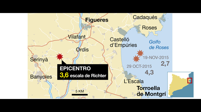 Registrat un terratrèmol de 3,6 graus a prop de Banyoles