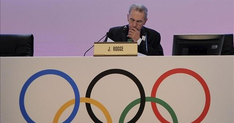 El presidente del Comit Olmpico Internaconal (COI), Jacques Rogge, durante la sesin del COI celebrada en Londres.