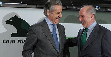 Blesa y Rato, en el 2010 en una asamblea general extraordinaria de Caja Madrid.