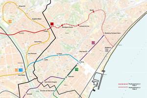 Mapa de la ampliación prevista del metro en Badalona, según el proyecto de la Generalitat.