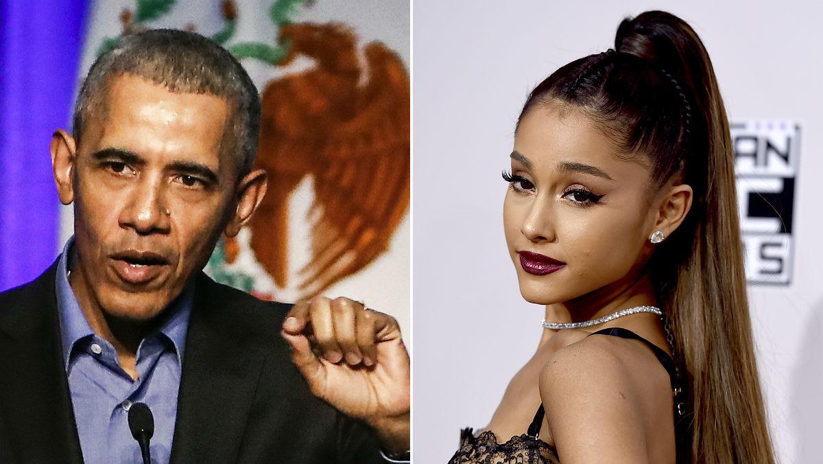 Montaje de Obama y Ariana Grande.