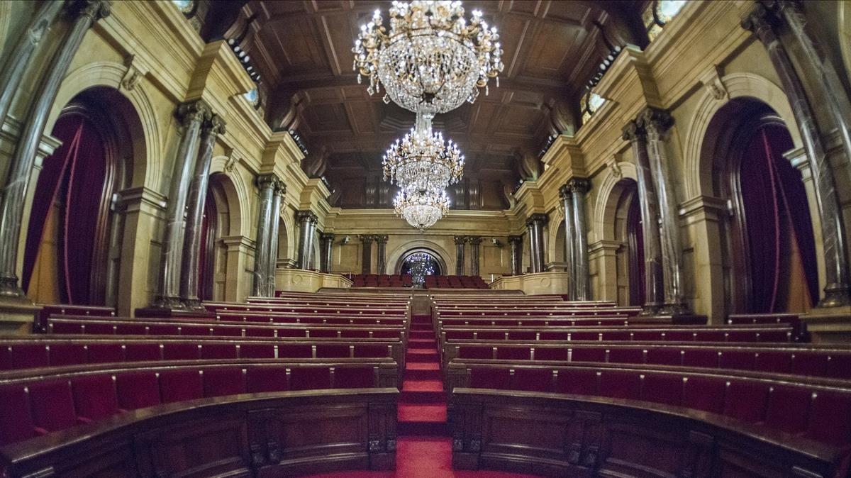 El hemiciclo del Parlament de Catalunya, vacío.