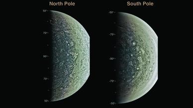 Ciclones gigantes en los polos de Júpiter