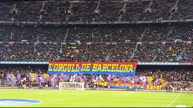 Insults contra l'Espanyol des de la grada d'animació del Camp Nou