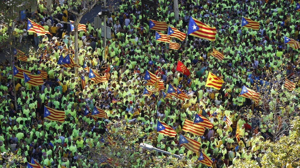Vista aérea en la confluencia de Passeig de Gràcia y Aragó.