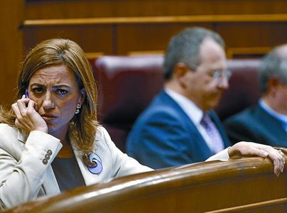 Carme Chacn, ayer en su escao en el Congreso de los Diputados.