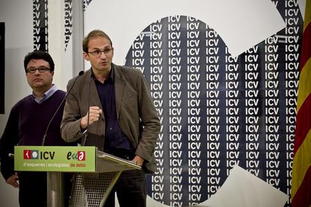 Herrera y Nuet, en la sede de ICV-EUiA, este lunes.