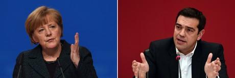Angela Merkel y el primer ministro griego y l�der de Syriza, Alexis Tsipras.