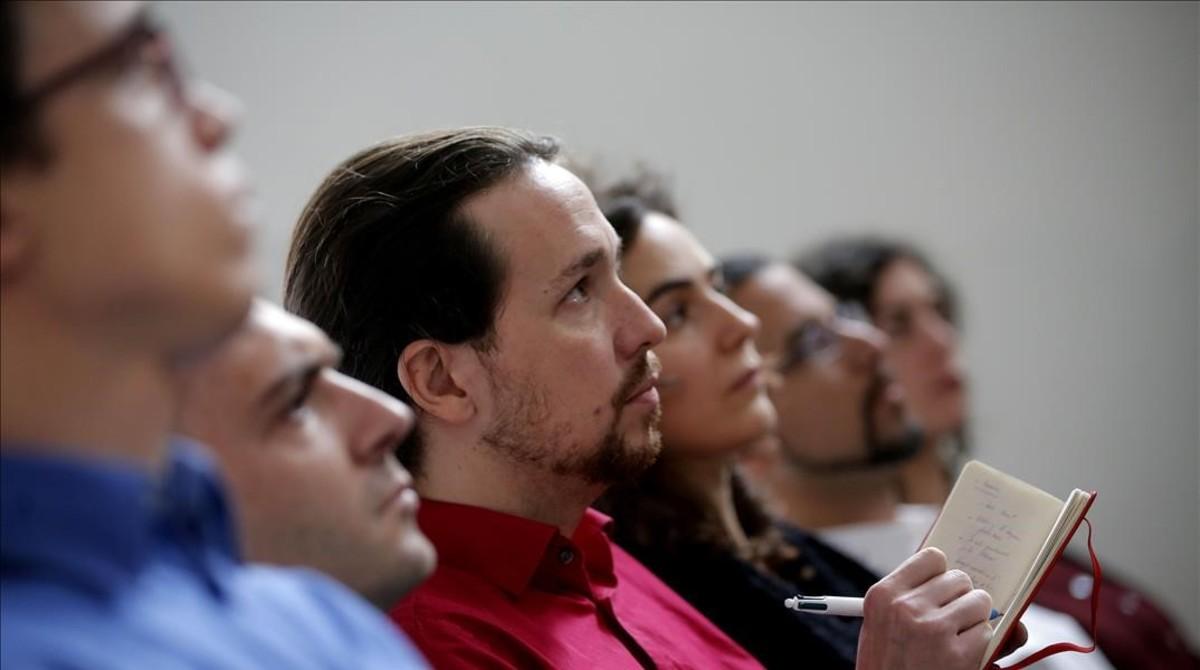 Errejón, Alegre, Iglesias y Pascual en una rueda de prensa, en enero de 2015.