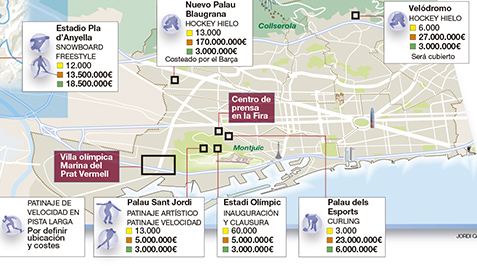 mapa de la candidatura olímpica de invierno de Barcelona 2026