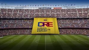 Simulación de la pancarta de 45 x 46 metros que se verá este miércoles en el Camp Nou.