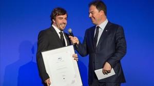 Alonso, durante el acto que se ha celebrado en París