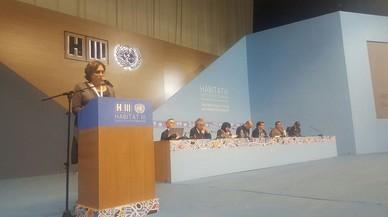 Ada Colau, alcaldesa de Barcelona y copresidenta de Ciudades y Gobierno Locales Unidos, durante la Asamblea Mundial de Ciudades.