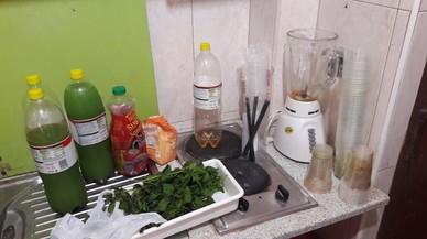 La cocina de la vivienda de la Barceloneta donde la Guardia Urbana ha encontrado material para preparar mojitos y distribuirlos de manera ilegal en la playa.