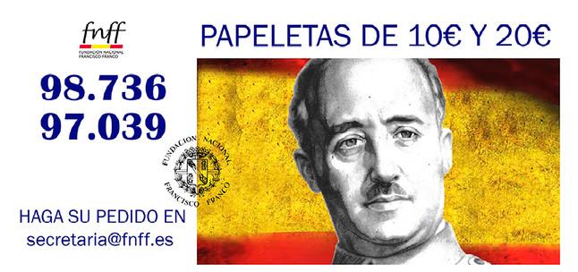 La Fundación Nacional Francisco Franco conmemora la guerra civil en sus números de la Lotería de Navidad